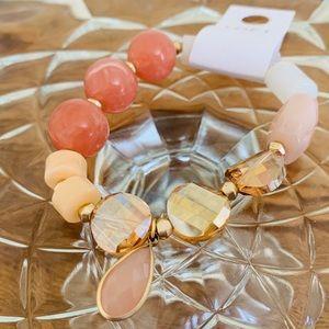 LOFT Beaded Stretch Bracelet Peach/Gold/Amber NWT